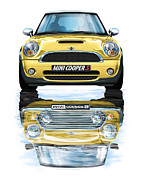 Mini Art Framed Prints - New BMW Mini Cooper S Yellow Framed Print by David Kyte