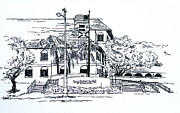 Hall Drawings Framed Prints - New Boca Raton City Hall Framed Print by Robert Birkenes