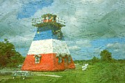 Pencil On Canvas Posters - New Brunswick Lighthouse - Canada Landscape Poster by Peter Art Print Gallery  - Paintings Photos Posters
