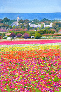 Vertical Landscape Paintings - New Carlsbad Flower Fields by Mary Helmreich