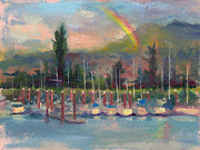 Brushwork Prints - New Covenant - rainbow over marina Print by Talya Johnson