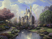 Fairies Posters - New Day At Cinderellas Castle Poster by Thomas Kinkade