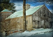 New England Snow Scene Digital Art - New England Barn by Tricia Marchlik
