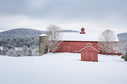 Winter Scenes Rural Scenes Prints - New England Barns Print by Bill  Wakeley