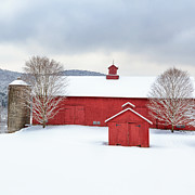 Winter Scenes Rural Scenes Prints - New England Barns Square Print by Bill  Wakeley