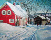 New England Snow Scene Painting Framed Prints - New England Covered Bridge Framed Print by Brett Gordon