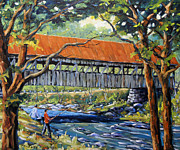 Artiste Framed Prints - New England Covered Bridge by Prankearts Framed Print by Richard T Pranke