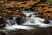 Autumn Photos Prints - New England Fall Foliage and Waterfall Cascades Print by Juergen Roth