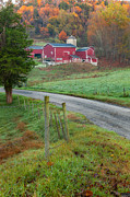 Autumn Country Road Posters - New England Farm Poster by Bill  Wakeley