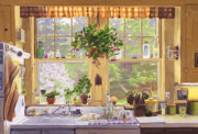 Lilacs Posters - New England Kitchen Window Poster by Mary Helmreich