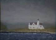 Foggy Day Painting Posters - New England Lighthouse Poster by Michael Brown