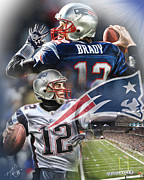 Tom Brady Prints - New England Patriots Print by Mike Oulton