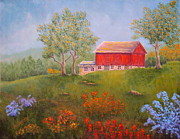 Red Barn Paintings - New England Red Barn Summer by Pamela Allegretto