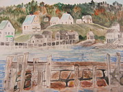 New England Village  Paintings - New England Seaside by Venice  Kichura