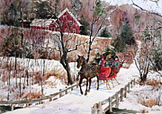 New England Snow Scene Painting Framed Prints - New England Sleighride Framed Print by Sherri Crabtree