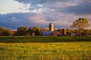 Barns Mixed Media Acrylic Prints - New England Sunrise Painted Barns Silos Stormy  Acrylic Print by Sherry  Curry