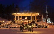 Barre Prints - New England Town Common Holiday Lights Print by John Burk