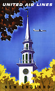 Air Travel Framed Prints - New England United Air Lines Framed Print by Mark Rogan