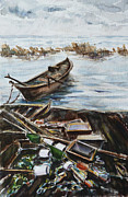 Raining Painting Originals - New England Wharf by Xueling Zou