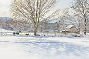 Snow Scene Metal Prints - New England Winter Metal Print by Bill  Wakeley