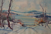 New England Snow Scene Painting Posters - New England Winter Poster by Dorothy Campbell Therrien