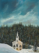 Spiritual Presence Prints - New England Winter Print by Michael Shegrud