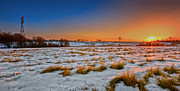 Winter Landscape Posters - New England Winter Sunrise Poster by Bill  Wakeley