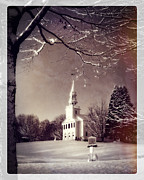Rural Snow Scenes Posters - New England Winter Village Scene Poster by Thomas Schoeller