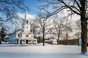 New England Villages Framed Prints - New England Winter Village Framed Print by Thomas Schoeller