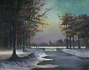 Kinkade Painting Posters - New England Winter Walk Poster by Cecilia  Brendel