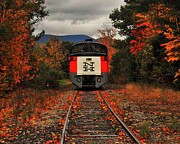 New Hampshire Posters - New Hampshire Autumn Train Poster by Benjamin Yeager