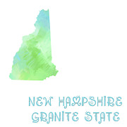 Abstract Map Prints - New Hampshire - Granite State - Map - State Phrase - Geology Print by Andee Photography