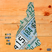 New Hampshire License Plate Map Live Free Or Die Old Man Of The Mountain Print by Design Turnpike