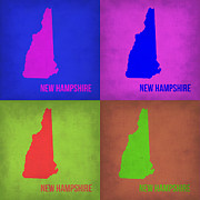 New Hampshire Posters - New Hampshire Pop Art Map 1 Poster by Irina  March