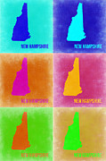 New Hampshire Framed Prints - New Hampshire Pop Art Map 2 Framed Print by Irina  March