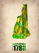 Us State Map Prints - New Hampshire Watercolor Map Print by Irina  March