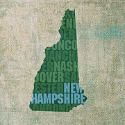 New Mixed Media Framed Prints - New Hampshire Word Art State Map on Canvas Framed Print by Design Turnpike