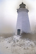 Photos Of Lighthouses Prints - New Haven In The Fog Print by Skip Willits