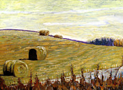 On Paper Painting Originals - New Haybales by Charlie Spear