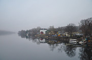 Bucks County Posters - New Hope River View on a Misty Day Poster by Bill Cannon