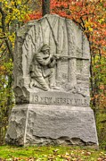 Yankee Division Art - New Jersey at Gettysburg - 13th NJ Volunteer Infantry Near Culps Hill Autumn by Michael Mazaika