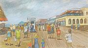Happy Posters Drawings Posters - New Jersey Boardwalk Poster by Carol Wisniewski