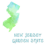 Map Art Mixed Media Prints - New Jersey - Garden State - Map - State Phrase - Geology Print by Andee Photography