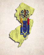 Americas Map Posters - New Jersey Map Art with Flag Design Poster by World Art Prints And Designs