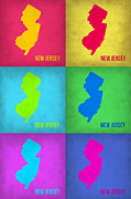 World Map Digital Art Metal Prints - New Jersey Pop Art Map 1 Metal Print by Irina  March
