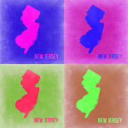 World Map Digital Art Metal Prints - New Jersey Pop Art Map 2 Metal Print by Irina  March