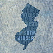 New Jersey Metal Prints - New Jersey Word Art State Map on Canvas Metal Print by Design Turnpike