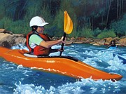 Whitewater Prints - New Kayaker Print by Cireena Katto