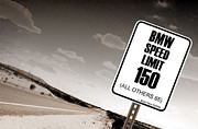 Highway Signs Posters - New Limits Sepia Poster by David Jackson