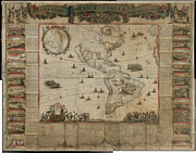 Maps Paintings - New map of all America  corrected by F de Wit Amsterdam 1672 by MotionAge Art and Design - Ahmet Asar